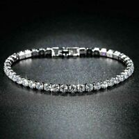 Certified 6.00 Ct White Round Cut Diamond Tennis Bracelet Solid 14k White Gold