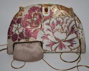 Vintage Judith Leiber Crystal Floral Brocade Satin Handbag Coin Purse