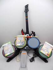 Xbox 360 Guitar Hero Rock Band Bundle Drum + Guitar + 3 Games
