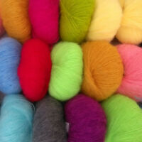 Multi-Coloured Luxury Angola Mohair Cashmere Wool Yarn Skein Lot Hand Washable
