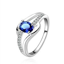 New 925 Sterling Silver Filled Blue Crystal Wedding Engagement Ring Jewelry Gift