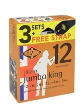 3 Sets Jk12 Rotosound Jumbo King 12-54 Med-light Acoustic Guitar Strings Strap