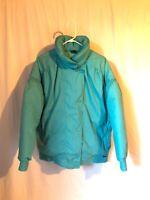 VTG XL Edelweiss ~ Down Ski Puffer Winter Jacket Coat Mint Green 80s 90s Womens