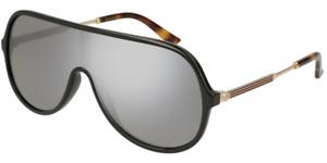 RARE NEW Genuine GUCCI Black & Gold / Grey Mirror Shield Sunglasses GG0199S 002
