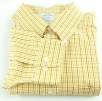Brooks Brothers Men's 1818 Sport Shirt XL Brown Yellow Check Non Iron Slim Fit