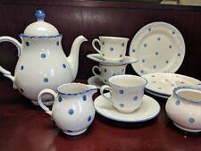 Schramberg Handbemalt Tea pot, cream/sugar, cups,saucers, and plates  POLKA