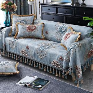 Luxury Jacquard Tassels 3/4 Seater Sofa Cover 3D Flower Couch Slipcover Non-slip