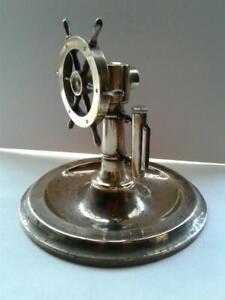 Antique Brass Ship Wheel Cigar Cutter STRIKER LIGHTER Ashtray