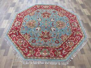 Fine Wool Rug For Living Room 6.1X5.11 Feet Handmade Octagonal Serapi Carpet