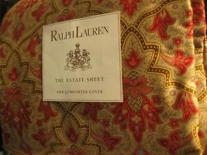 Ralph Lauren Langham Red Paisley SATEEN King Duvet / Comforter Cover 400TC