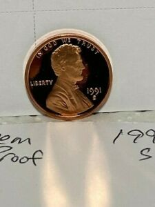 One 1991-S Lincoln Cent Deep Cameo Mirror Proof RED Upper Grading Ranges