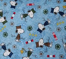 1 yd Hugs for Heroes Peanuts Quilting Treasures Snoopy Military Blue