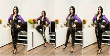 SEXY FETISH BLACK PVC & SATIN CATSUIT RED WHITE BLUE 18-24 UK New With Tags