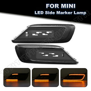 For 2016-up Mini Cooper F54 Clubman Sequential LED Side Marker Lights Smoke Lens