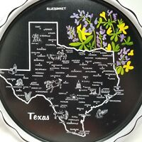 Vintage State of Texas Souvenir Tray Black Gold Metal Travel Map Flower