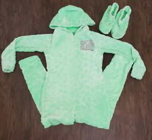 *NWT* JUSTICE GIRLS 8 10 12 FLOATY DOG ONE PIECE ROMPER AND EYE MASK PAJAMA SET