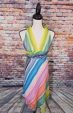 BCBG Max Azria Multi-Color Stripes Beaded SILK Halter Asymmetrical Dress Sz 6