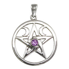 Moon Phase Pentacle with Amethyst - Wiccan Pagan Pentagram Jewelry