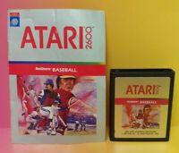 Atari 2600 Real Sports Baseball Game & Instruction Manual Tested Works Rare