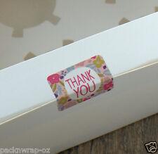 54 x floral Thank You Stickers label bonbonniere favour Cello Lolly Bag Seal