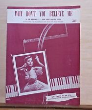 Why Don't You Believe Me - 1952 sheet music - Joni James photo cover