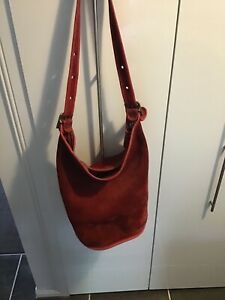 Coach large red suede bucket bag