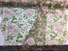 PINK FRENCH FLOWER GARDEN EMBROIDER WITH MULTI COLORS ON A MESH-SOLD BY THE YARD