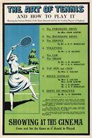 Affiche Art Deco Originale - Film The Art of Tennis - Wimbledon - Sport - 1920
