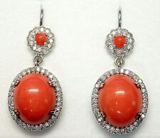 Handmade 14k White Gold 12 ct Oval Red Coral 1.25 ct Diamond Drop Earring #E