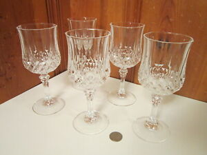 "5 Crystal Cut Glass Stem 7oz Wine Glasses 7 1/4""H Classic Diamond Spire Pattern"