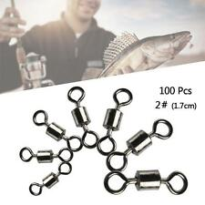100Pcs Fishing Barrel Bearing Swivels Stainless Steel Solid Ring Connector 2# PK