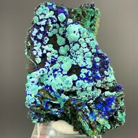 Natural AZURITE Crystal Growth On Green MALACHITE Mineral Specimen  A66