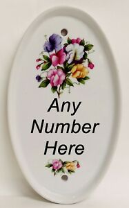 Sweet Pea Oval Vertical House Number Door Plaque Ceramic Sign Any Number