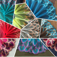 Lace Trim Mesh Sewing Craft Peacock Feather DIY Handcraft Tutu Tulle Net Fabric