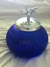 """Round Blue Ribbed Glass Jar / Canister with Metal Coral Design Lid ~ 6"""" x 7"""" NEW"""