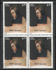 Mozart India   BLock of 4   Music Composers Austria Musik 1991 Osterreich Piano