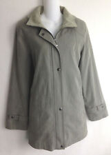Gallery Trench Coat Womens Size S Small Gray Hooded Jacket Removable Liner Hood