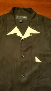 NAT NAST Limited Edition Black Embroidered Silk Shirt Size XL #53 Sea Side Park
