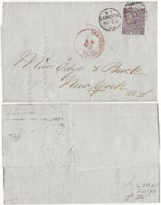GB QV 6d plate 8 1869 cover to NY Corner letters JO/OJ
