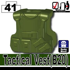 Tank Green B20 (W210) Tactical Army Vest compatible with toy brick minifig SWAT