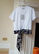 NEW EMILIO PUCCI PRINTED WOMEN'S  SILK - TRIMMED COTTON T- SHIRT SIZE M RRP £295