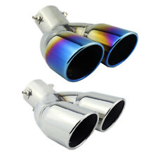 """3"""" Inlet Universal Car Dual Exhaust Pipe Trim Tip Tail Muffler Stainless Steel"""
