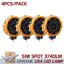 4X 7inch 51W Slim LED Work Lights Spot Pickup ATV Backup Driving Offroad Yellow