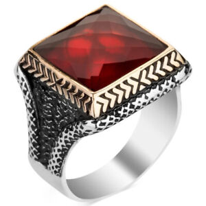 Solid 925 Sterling Silver Square Red Zircon Stone Men's Ring