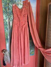 Vintage 30's blush peach chiffon one shoulder with shawl