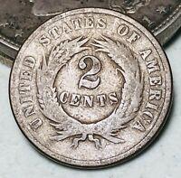 1869 Two Cent Piece 2C Ungraded Good Date Civil War Era US Copper Coin CC6089