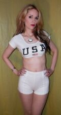 VTG 80s shorts set USA 4th of July white sexy shorts and crop top set Sz Small