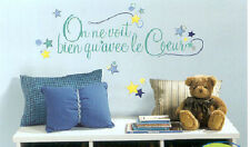 Quote in FRENCH: LE COEUR wall stickers room decor house inspirational 50 decals