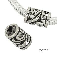 1PC Antique Sterling Silver Wave Filigree Tube European Charm Cord Bead #97718