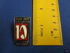 Star Trek Next Generation 10th Anniversary Red & Black Pin Badge 10Y2